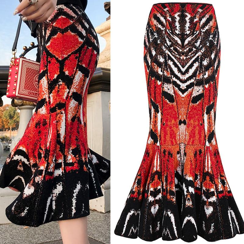 Piste Midi jupe en queue de poisson femmes mode abstrait papillon motif Jacquard tricot jupe dames taille haute jupe crayon sirène