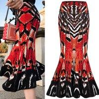 Runway Midi Fishtail Skirt Women Fashion Abstract Butterfly Pattern Jacquard Knit Skirt Ladies High Waisted Pencil Skirt Mermaid