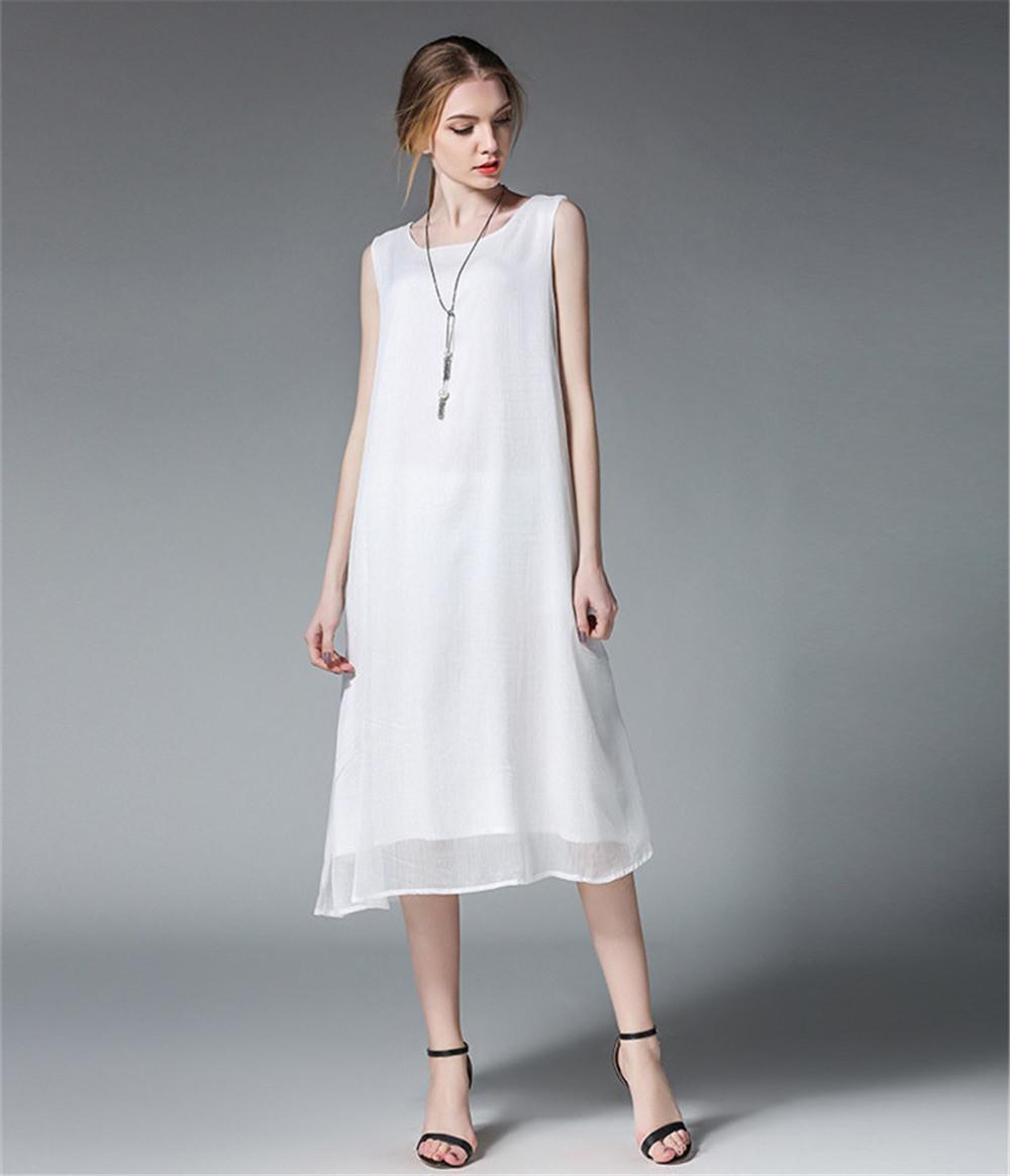 Fashion White Women Long Tank Dress 2017 New Summer Autumn Retro Sleeveless Chiffon Designs Casual Dresses Slim Plus size XXXXL 5