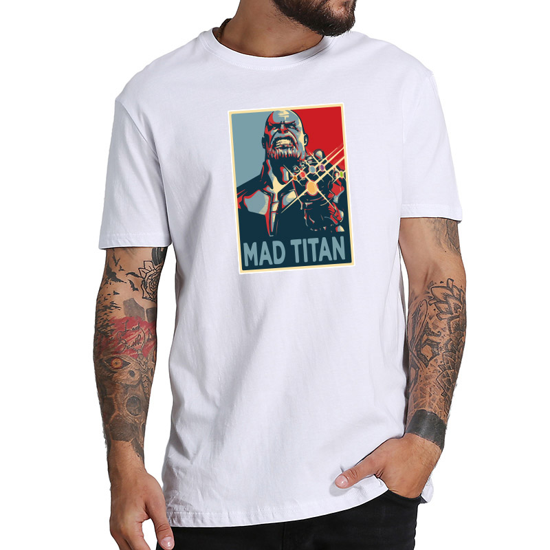 Mad Titan t shirt Thanos Print Anime Infinity Summer Tops Personality Cotton Soft Tshirt US Size
