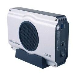 Алюминиевый корпус жесткого диска SATA I/II/III с разъемом USB 3,0 на 3,5 дюйма с охлаждающим вентилятором (максимальная поддержка 8 ТБ)