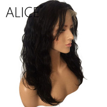 ALICE 150 Density Glueless Lace Front Human Hair Wigs With Baby Hair 10-18 Inch Brazilian Remy Wavy Bob Wigs For Black Women