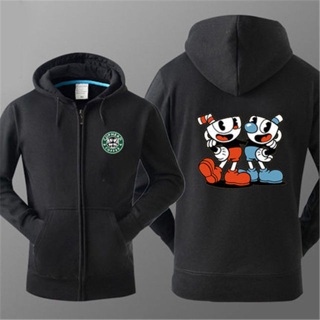 US $32 99 |Teacup Cuphead MugmanGame Hooded Jacket Sweater Hoodie Costume 3  Type Cosplay Warm Zipper Winner Sweatshirt -in Anime Costumes from Novelty