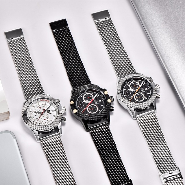 BENYAR Sport Chronograph Watches Men Mesh Band Multifunction Waterproof Quartz Watch