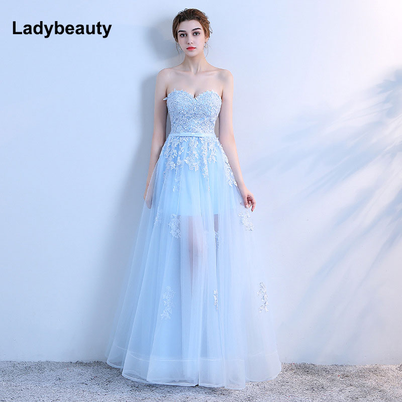 New 2018   Evening     Dress   Sweetheart Tulle Long   Dresses   Elegant Lace   Evening     Dress   Women Long   Dress   party prom Gown