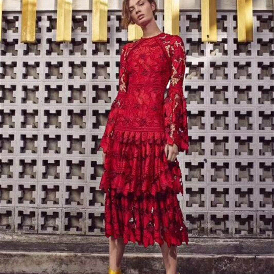 High Quality Winter Women Red Dress Flare Sleeve Hollow Out Ruffled Party Dress Lace Dresses Women Party Night Vestidos Flower-in Dresses from Women's Clothing    1