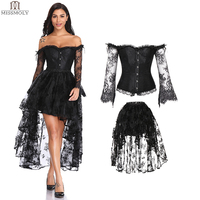 Steampunk Corset Sexy Gothic Bustier Irregular Palace Style Top Lace Strapless Dress 14 Steel Boned Slimming Burlesque Clothes