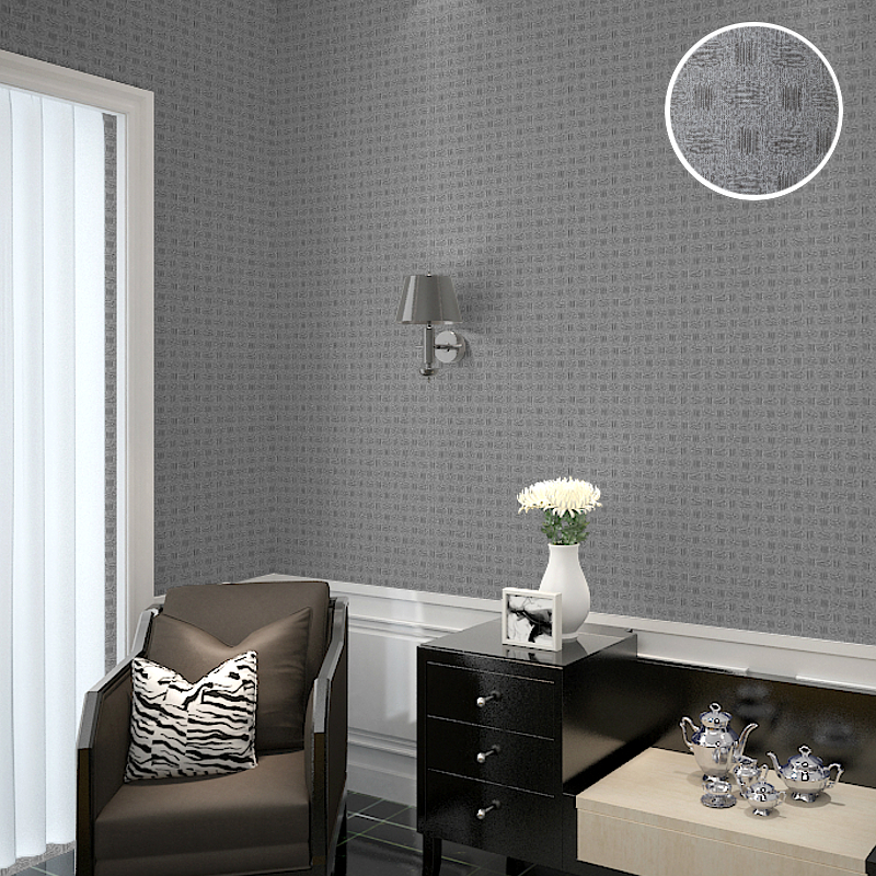 Vinyl Plain Modern Solid Color Basket Bamboo Pattern Geometric Grey Wallpaper, 10x0.53 Meter/Roll
