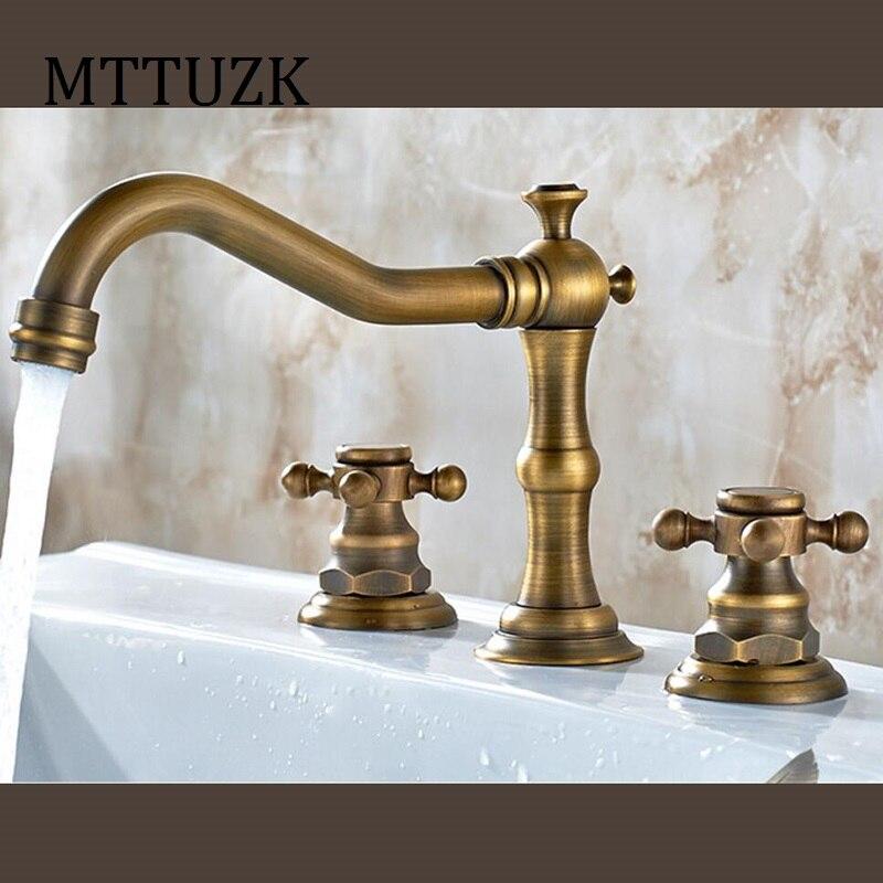 MTTUZK Antique Copper bathroom faucet for hot and cold Mixer tap ...