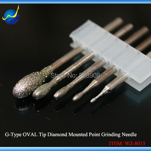 2 Sets OVAL Tip Lapidary Diamond Mounted Drills Burrs 1.2mm To 5.0mm For Glass Stone Mould Jewelry Gems Grinding Shank 3/32''