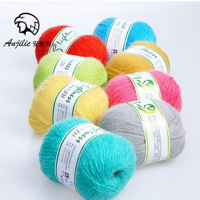 Free shipping 300g(50g*6pcs) Angora Anti-Pilling Low Shrinkage Thin Yarn For Hand Knitting Crocheting