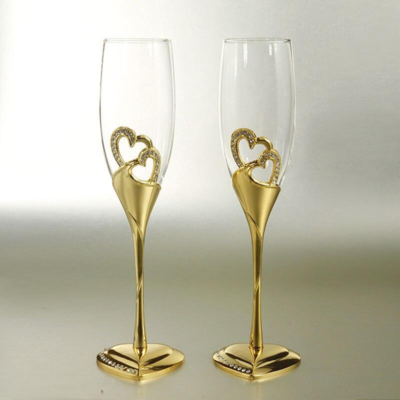 1 paire couleur dorée coeur forme base cristal verre/champagne verre de vin rouge/amoureux créatif mariage transparent gobelet