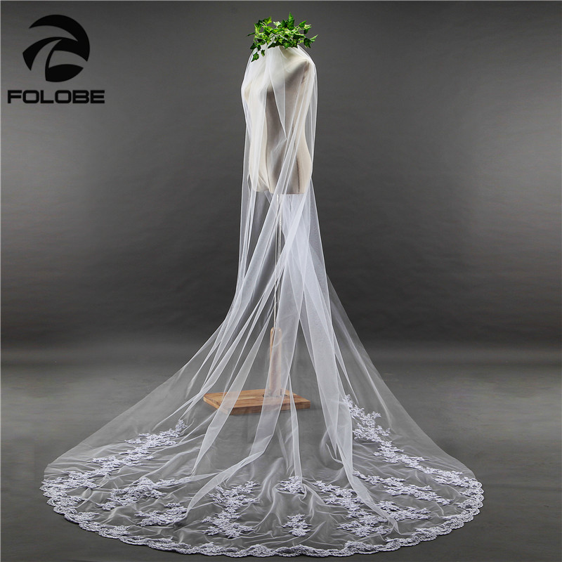 Hot Free Shipping Vestido De Noiva Stock White/Ivory Luxury Appliques Lace Edge One Layer Tulle Wedding Accessories Bridal Veil