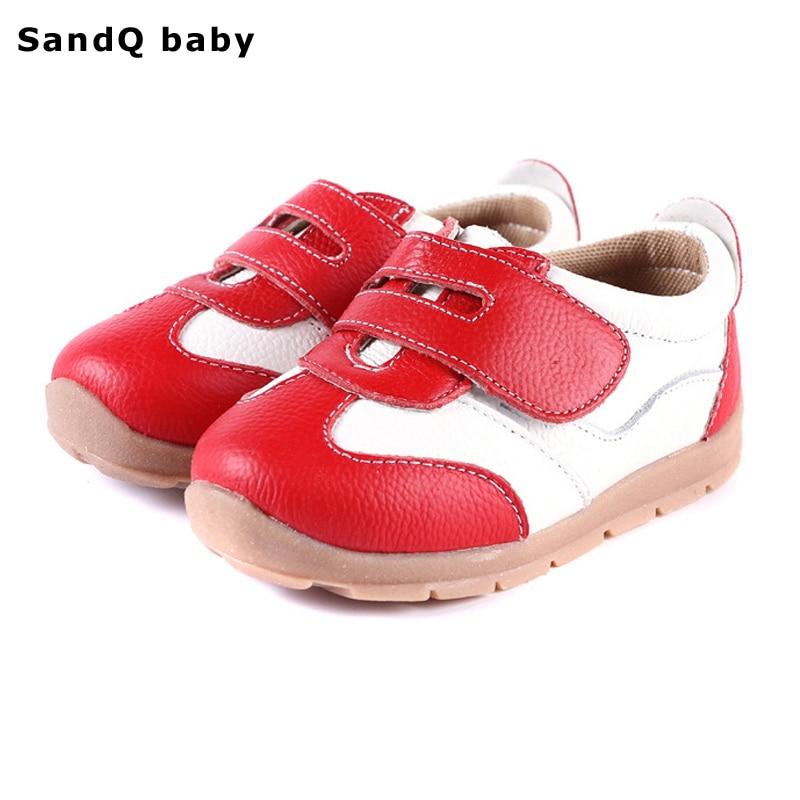 2019 New Spring Ægte Læder Børn Sko Drenge Børn Fashion Sneakers Piger Prinsesse Sko Patchwork Baby Toddler Shoes