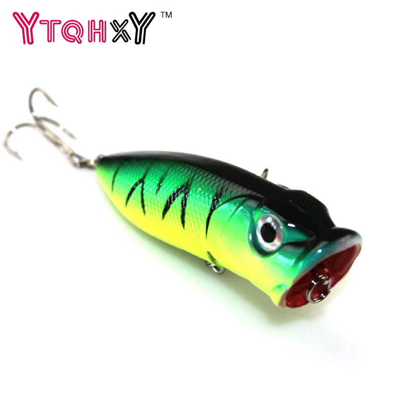 1pc Fishing Lures 5 colors Popper Lure 6.5cm 13g fishing bait 6# high carbon steel hook fishing tackle YE-203