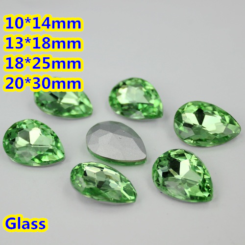 Peridot Pear Teardrop Crystal Fancy Stone Point Back Glass Stone For DIY Jewelry Accessory.10*14mm 13*18mm 18*25mm 20*30mm