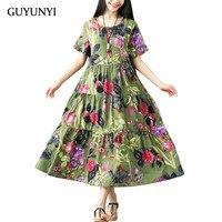 GUYUNYI хлопковое и льняное платье Винтаж с со складками больших размеров женское повседневное свободное летнее платье vestidos femininos до середины ...