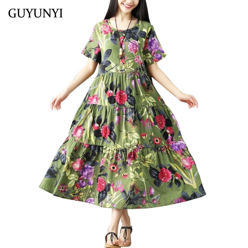 GUYUNYI Cotton And Linen Dress Vintage Pleated Plus Size Women Casual Loose Summer Dress vestidos femininos Mid-Calf Long CX925
