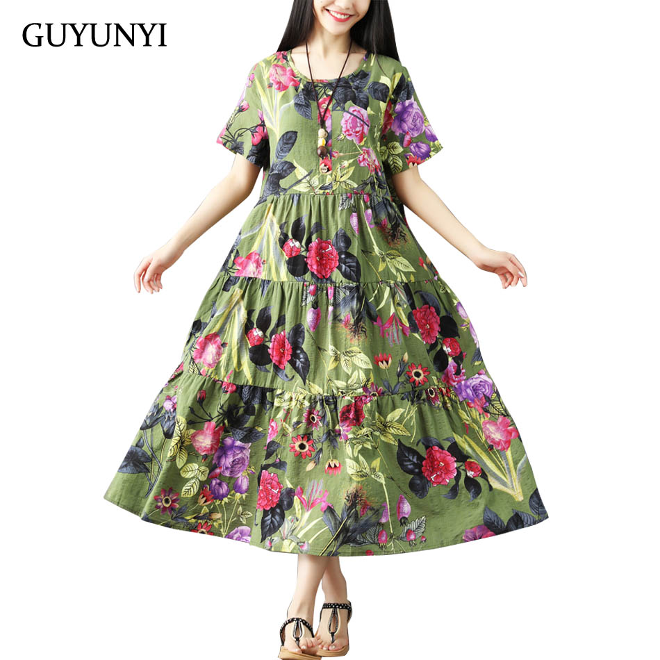 Guyunyi algodão e linho vestido plissado vintage plus size feminino casual solto vestido de verão vestidos femininos meados de bezerro longo cx925