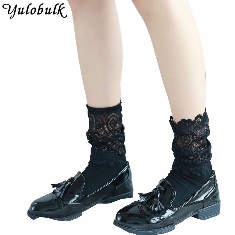 Summer Black White Lace Ankle Socks Women Pure Color Woman -7872
