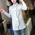 New Fashion 2016 Womens Novelty Face Placket Finger Collar Embroidery Long Sleeve Shirts Tops Casual Ladies Blouses blusas Br050