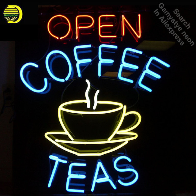 Neon Signs for Coffee Cafe Tea Shop Neon Light Sign Handcrafted Recreation Room Neon Bulbs Glass Tube Art Lamps dropshipping