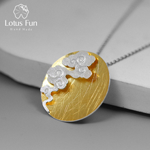 Lotus Fun Real 925 Sterling Silver Fine Jewelry Creative Design Oriental Element Vintage Cloud Round Pendant without Necklace