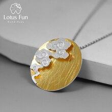 Lotus eğlenceli gerçek 925 ayar gümüş güzel takı yaratıcı tasarım oryantal eleman bağbozumu bulut yuvarlak kolye kolye olmadan