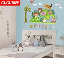 Decorate monkey tiger duck trees art wall sticker decoration Decals mural painting Removable Decor Wallpaper LF-1851 decorate trees monkey leaf art wall sticker decoration decals mural painting removable decor wallpaper lf 1819
