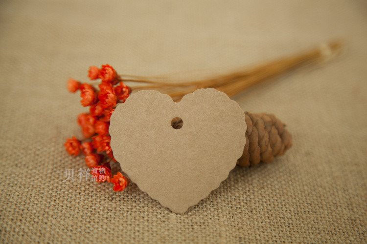 P063 500ps Vintage Kraft White Paper Tags of Lovely Heart Shape for DIY Scrapbooking/Card Making/Wedding Decoration