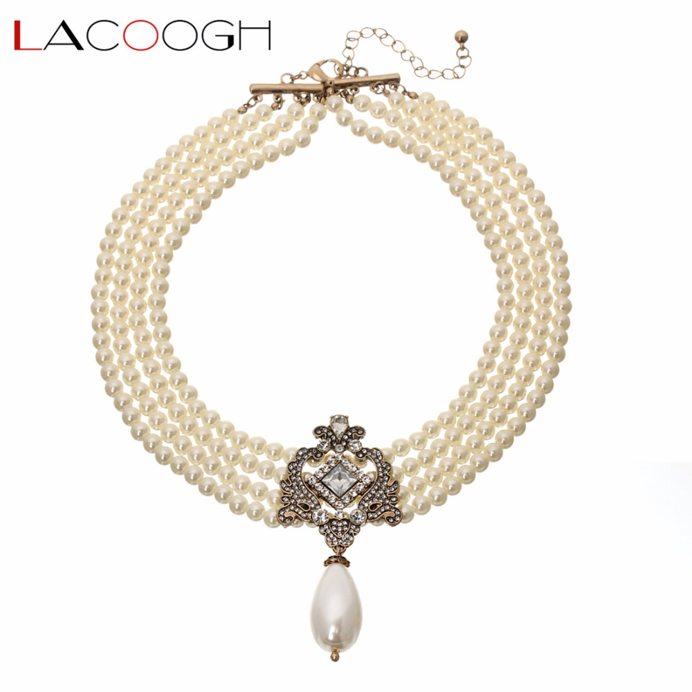 Lacoogh New Arrive Bright Noble Multilayer Beads Chain Romantic Choker Necklace Simulated Pearl Necklace Fashion Jewelry