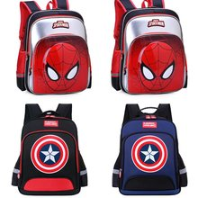2019 New Children Spiderman School bag For Boys Girls Captain America Teenager Schoolbags Kids Cartoon Student Backpacks(China)