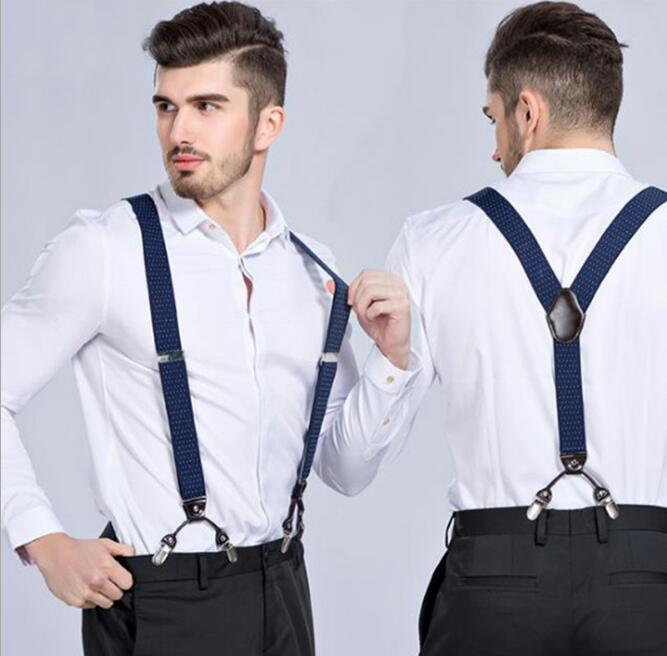 Fashion Without Box Multi Pattern Grid Mens Casual Fashion Braces High Quality Leather Suspenders Adjustable 6 Clip Belt Strap