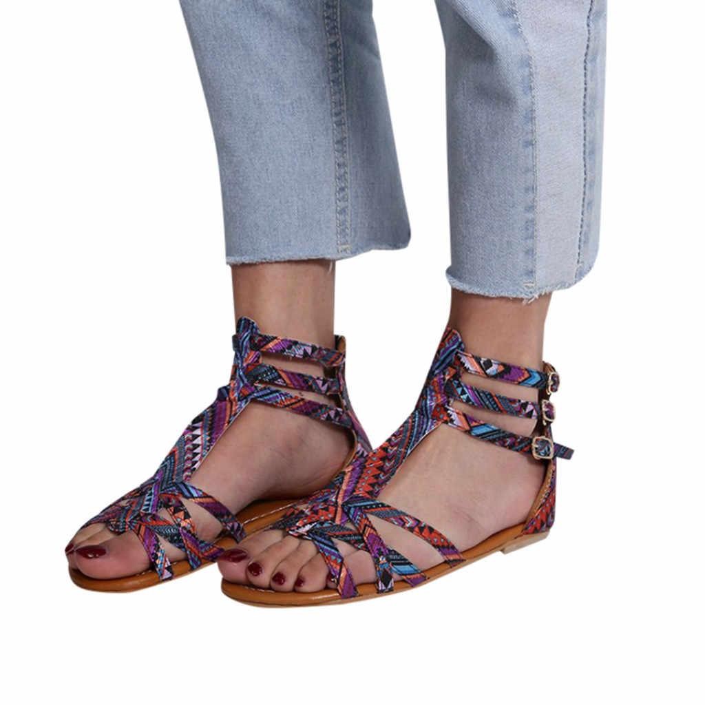 แท้รองเท้าแตะแบนผู้หญิงรองเท้าแตะฤดูร้อน 2019 รองเท้าหนังแท้ zapatos de mujer de moda 2019 # g68
