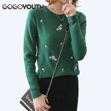 Surmiitro mujeres suéter de invierno 2018 otoño Floral bordado puente de  punto señoras suéter mujer Tricot 5e9f16e8471c