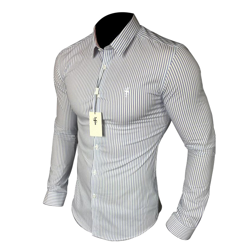 New Casual Long Sleeve Shirt Light luxury Men's Clothing Male Slim Fit Stripes Square Collar Business Fashion Shirts Men Dress