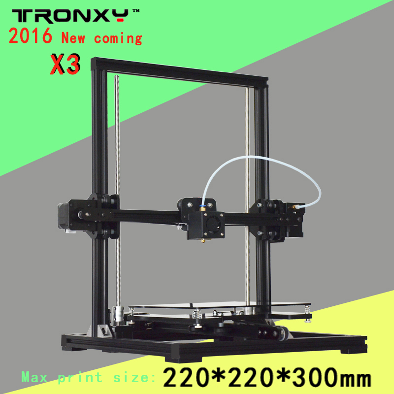 Tronxy 2016 X3 newest Upgraded Aluminium Structure High Precision Reprap 3D printer DIY kit series print size 220*220*300mm