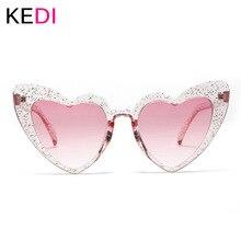 KEDI Love Heart Sunglasses Women Cute Sexy Female Retro Cat Eye Sun Glasses Vintage 90s Pink Red Flash Eyewear
