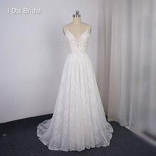Spaghetti Strap Boho Beach suknia ślubna koronkowa linia niska suknia ślubna nowość