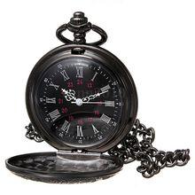 YCYS-Старинные Стимпанк Черный Римские цифры Ожерелье Кварц Подвеска Карманные Часы Подарка