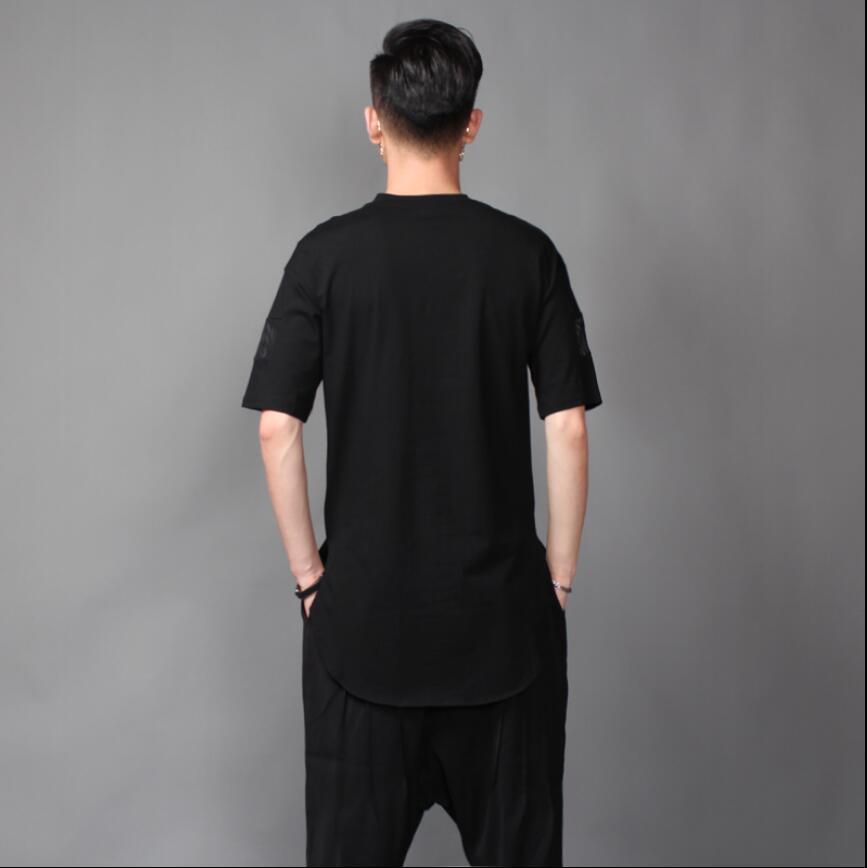 À Noir Mâle Cheveux Styliste Courtes shirt Hommes Personnalité Manches Et Col T Nouvelle D'été Blanc Couture Lâche Marque Rond Marée wXOOfHTcq7