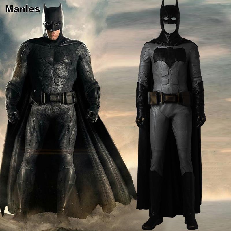 Justice League Batman Cosplay Costume Bruce Wayne Outfit Halloween Clothes Movie Superhero Suit Black Cloak Boots