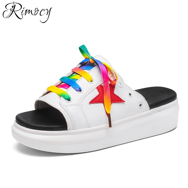 8c656a32751e9 Rimocy 2018 Summer Colorful Lace up Women Sandals Flat Platform Open Toe  Slipper White Casual Beach Flip Flops Shoes Woman