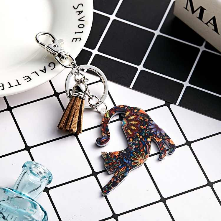 Bonsny Enamel Rhinestone ภาษาฝรั่งเศส Bulldog Pug Dog Key Chains พวงกุญแจสัตว์เครื่องประดับสำหรับผู้หญิงกระเป๋า Charms ของขวัญสัตว์เลี้ยง