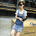 2016 New Fashion Women Denim Dress Jeans Blue Casual Spaghetti Strap Dresses Large Size Denim Sundress JN262