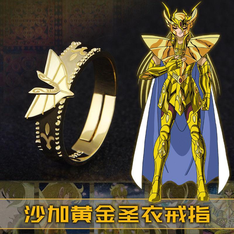 Anime Saint Seiya Virgo Shaka Ring Gold Cloth 925 Sterling Silver Finger Rings Costume Gift New