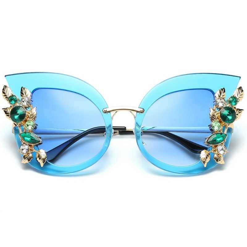 Женские солнцезащитные очки кошачий глаз со стразами, роскошные градиентные брендовые дизайнерские очки
