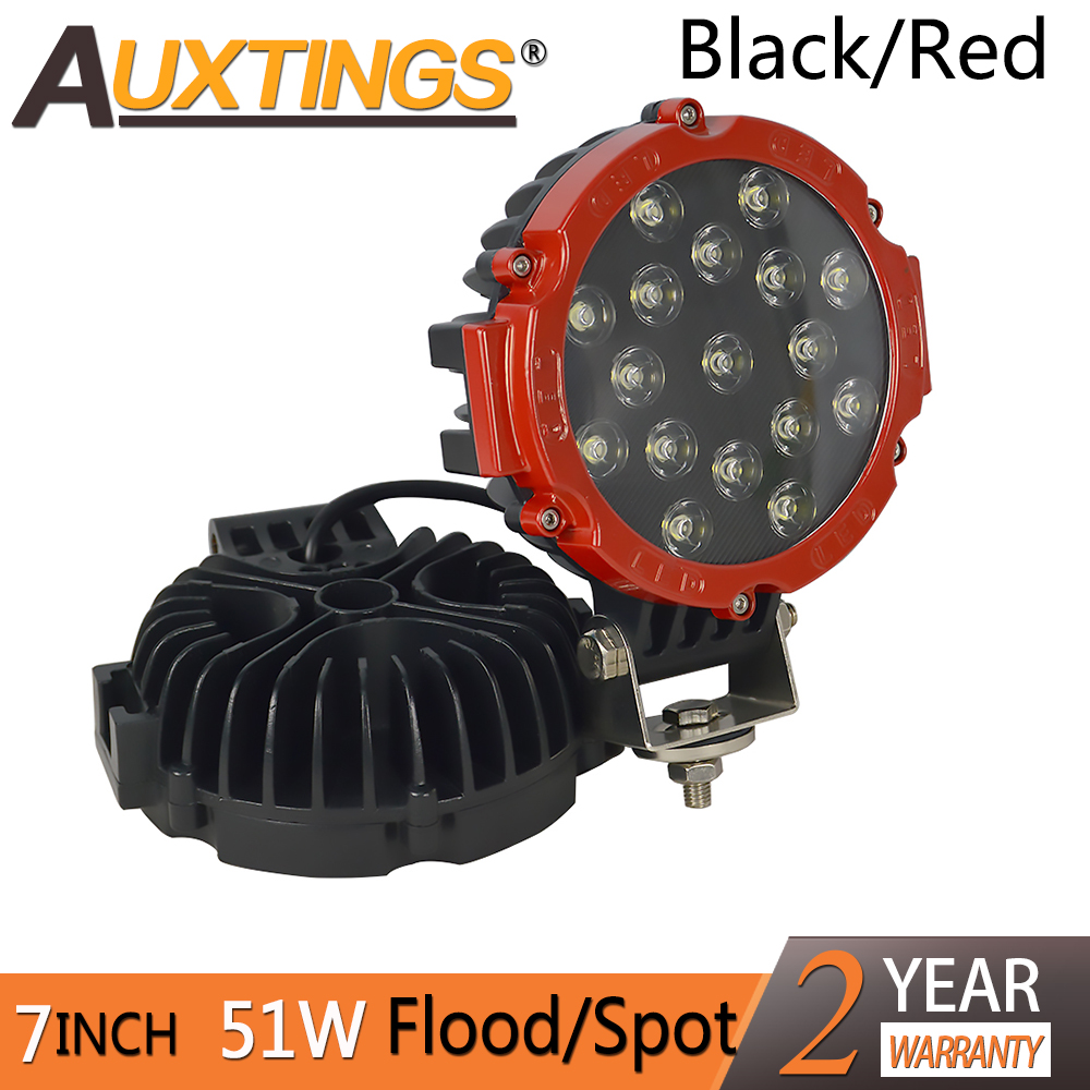 Auxtings 2pcs black red 4x4 offroad car spot beam 7 inch 51w led work driving light bar 7'' for truck Auto 4X4 ATV Boat yituancar 1x 51w 7 inch red round led work light bar styling driving offroad truck 4wd atv suv spot beam dc10 30v car lighting