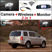 3 in1 Special Rear View Camera + Wireless Receiver + Mirror Monitor DIY Back Up Parking System For HONDA Pilot MRV MR V MR V