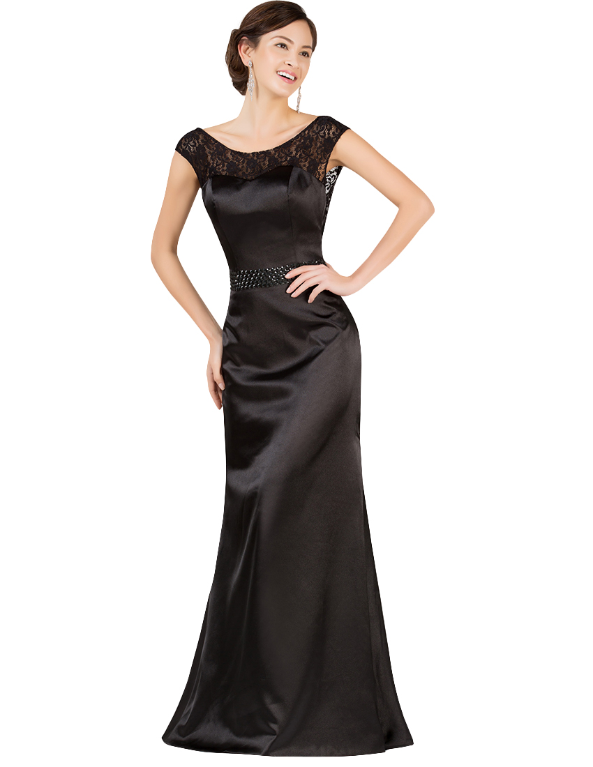 Elegant Long Black Evening Dresses 2018 Grace Karin Lace Open Back ...